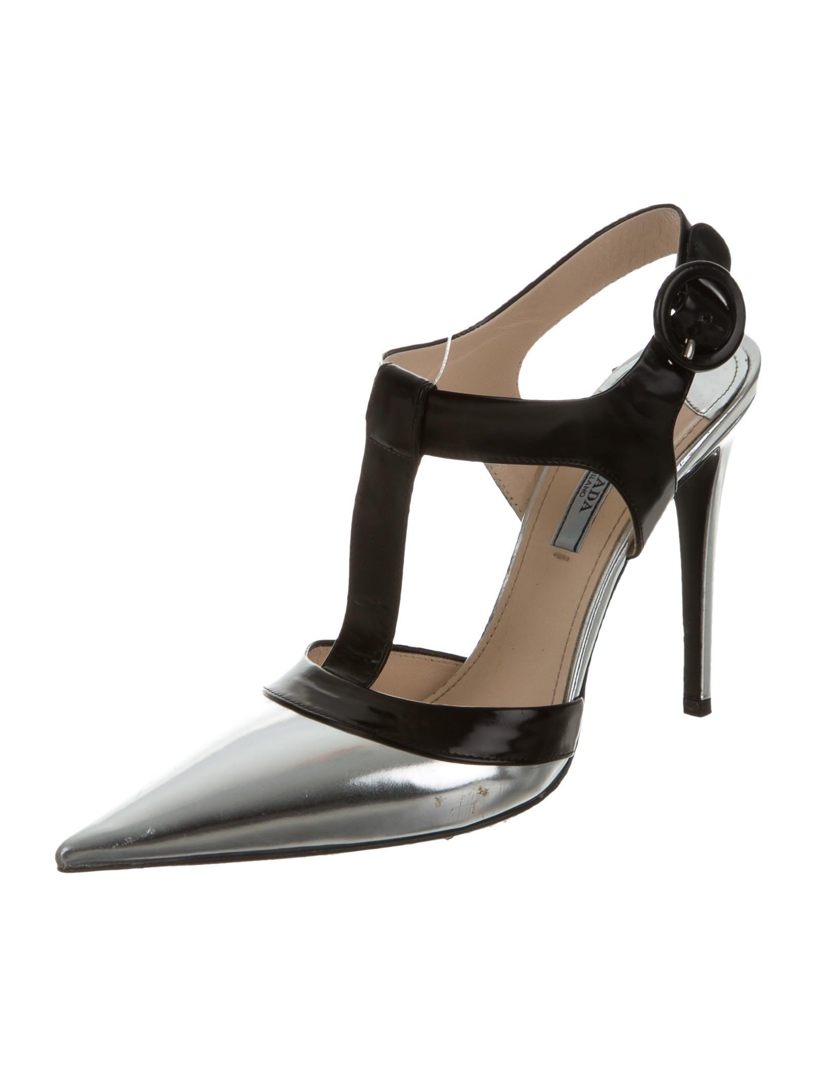 prada leather t strap pumps shoes pra124765 the realreal. Black Bedroom Furniture Sets. Home Design Ideas