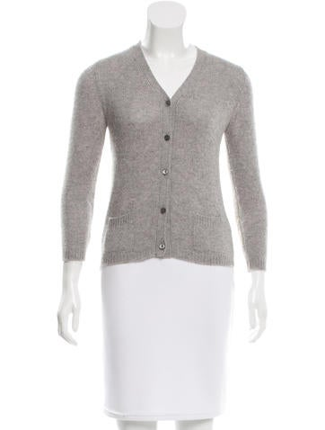 Prada Rib Knit V-Neck Cardigan None