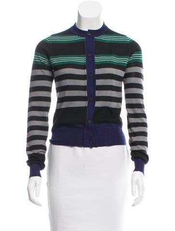 Prada Stripe Long Sleeve Cardigan None