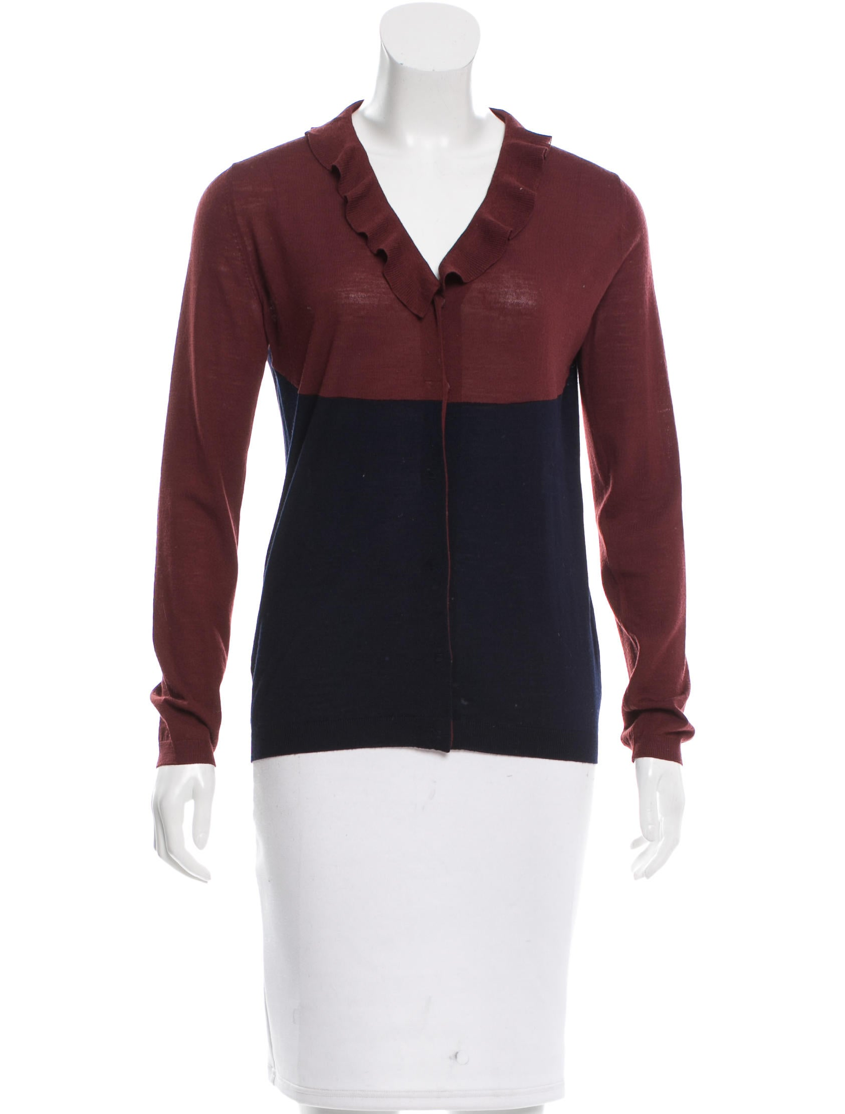 Prada two tone wool top clothing pra125264 the realreal for Best wool shirt jackets