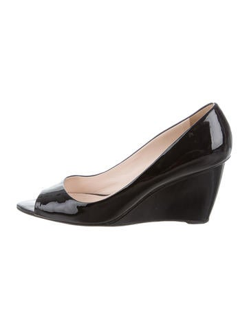 Prada Patent Wedge Pumps None