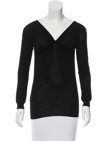 Prada Twist-Accented Knit Top None