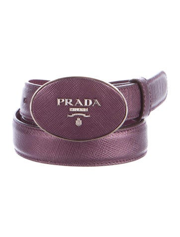 Saffiano Leather Logo Belt