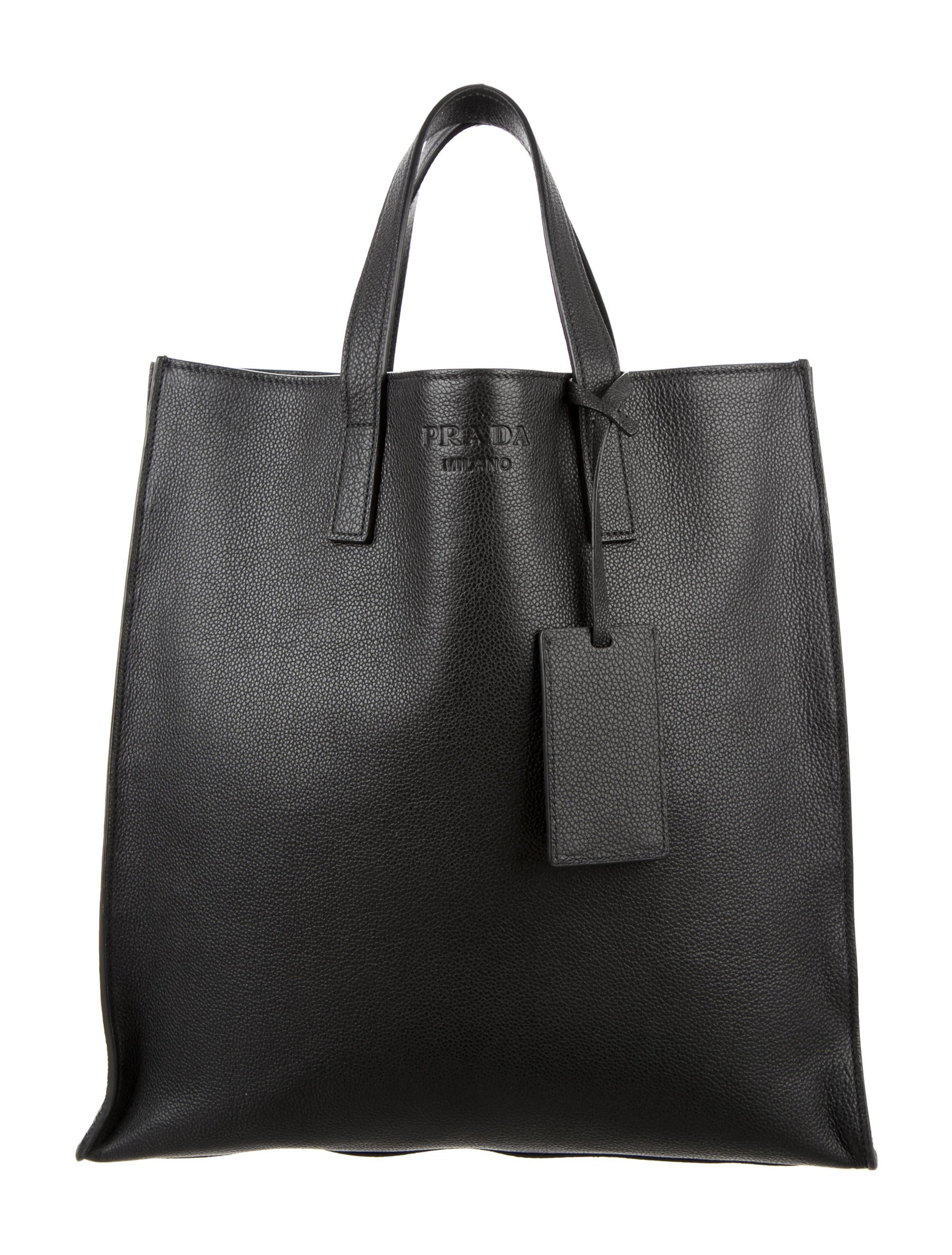 d8398f1abacf Prada Vitello Grain Shopping Tote - Bags - PRA126029 | The RealReal