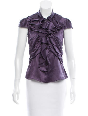 Prada Silk Ruffled Top None