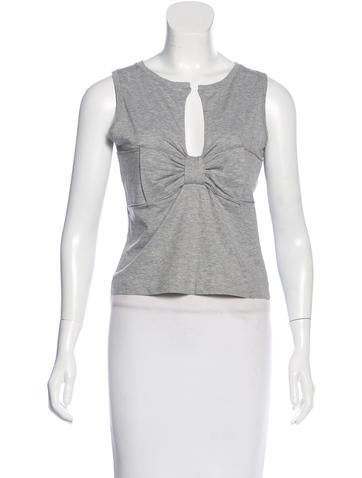 Prada Bow-Accetned Sleeveless Top None
