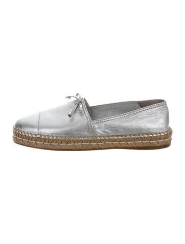 Prada Metallic Leather Espadrilles None