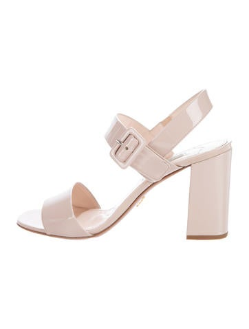 Prada Patent Leather Block Sandals None