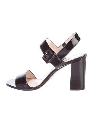 Prada Patent Leather Block Sandals None