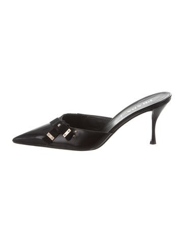 Prada Leather Pointed-Toe Mules None
