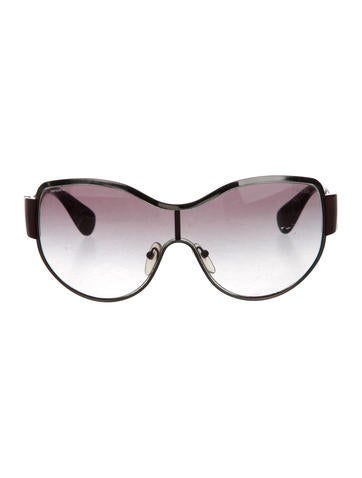 Prada Logo-Embellished Shield Sunglasses None