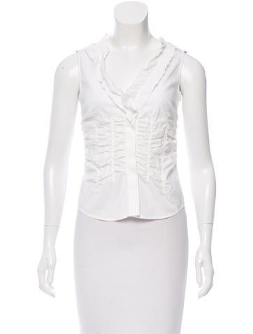 Prada Ruched Sleeveless Top None