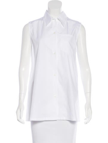 Prada Sleeveless Button-Up Top None