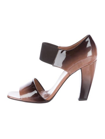 Prada Patent Leather Square-Toe Sandals None
