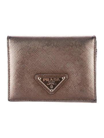 Prada Metallic Saffiano Wallet