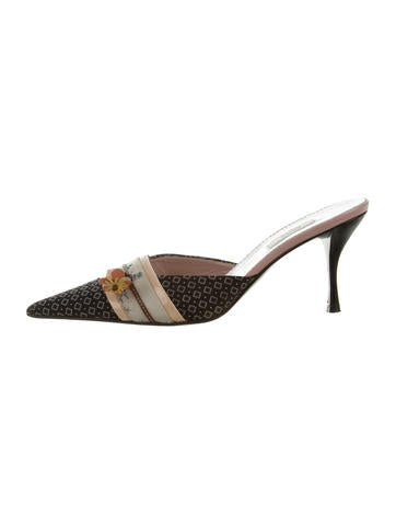 Prada Embroidered Pointed-Toe Mules None