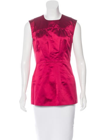 Prada Silk Pleated Top None