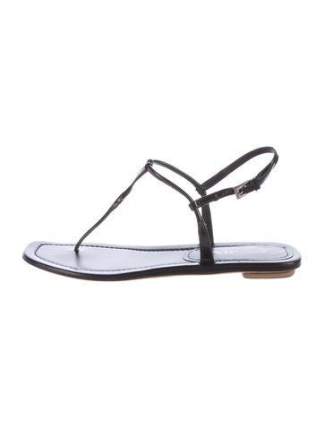 Prada Patent Leather T-Strap Sandals None