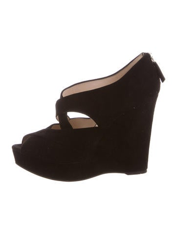 Prada Suede Peep-Toe Wedges None