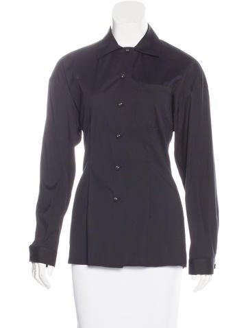 Prada Long Sleeve Button-Up Top None