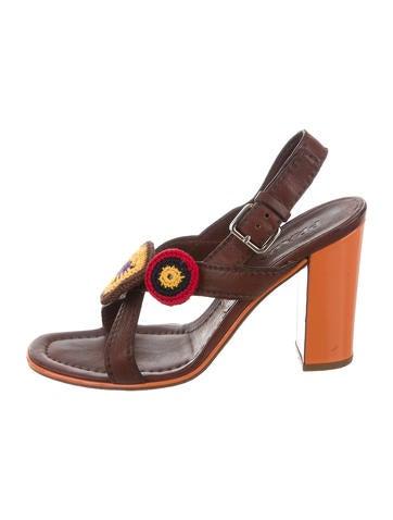 Prada Leather Embellished Sandals