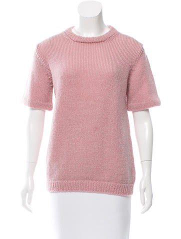 Prada Short Sleeve Rib Knit Sweater None