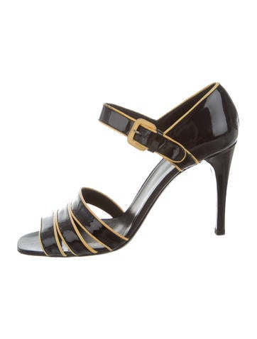 Prada Patent Leather Ankle Strap Sandals None