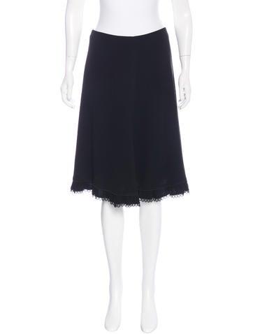Prada Knee-Length Lace-Trimmed Skirt
