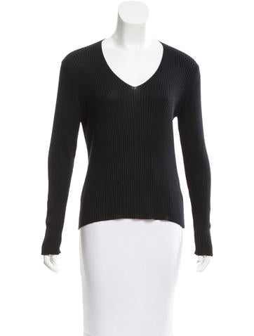 Prada Rib Knit Silk Sweater None