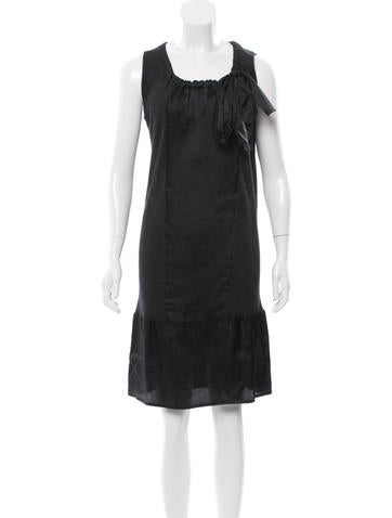 Prada Silk Tie-Accented Dress None
