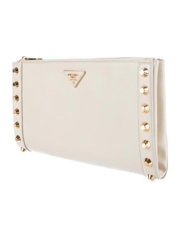 ff93745eb671 Prada Saffiano Vernice Studded Clutch - Handbags - PRA129337 | The RealReal