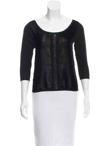 Prada Velvet-Accented Knit Top None