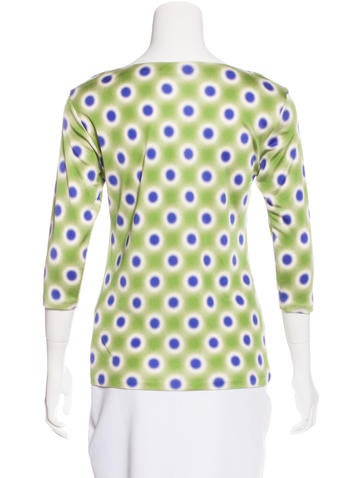 Polka Dot Three-Quarter Sleeve Top