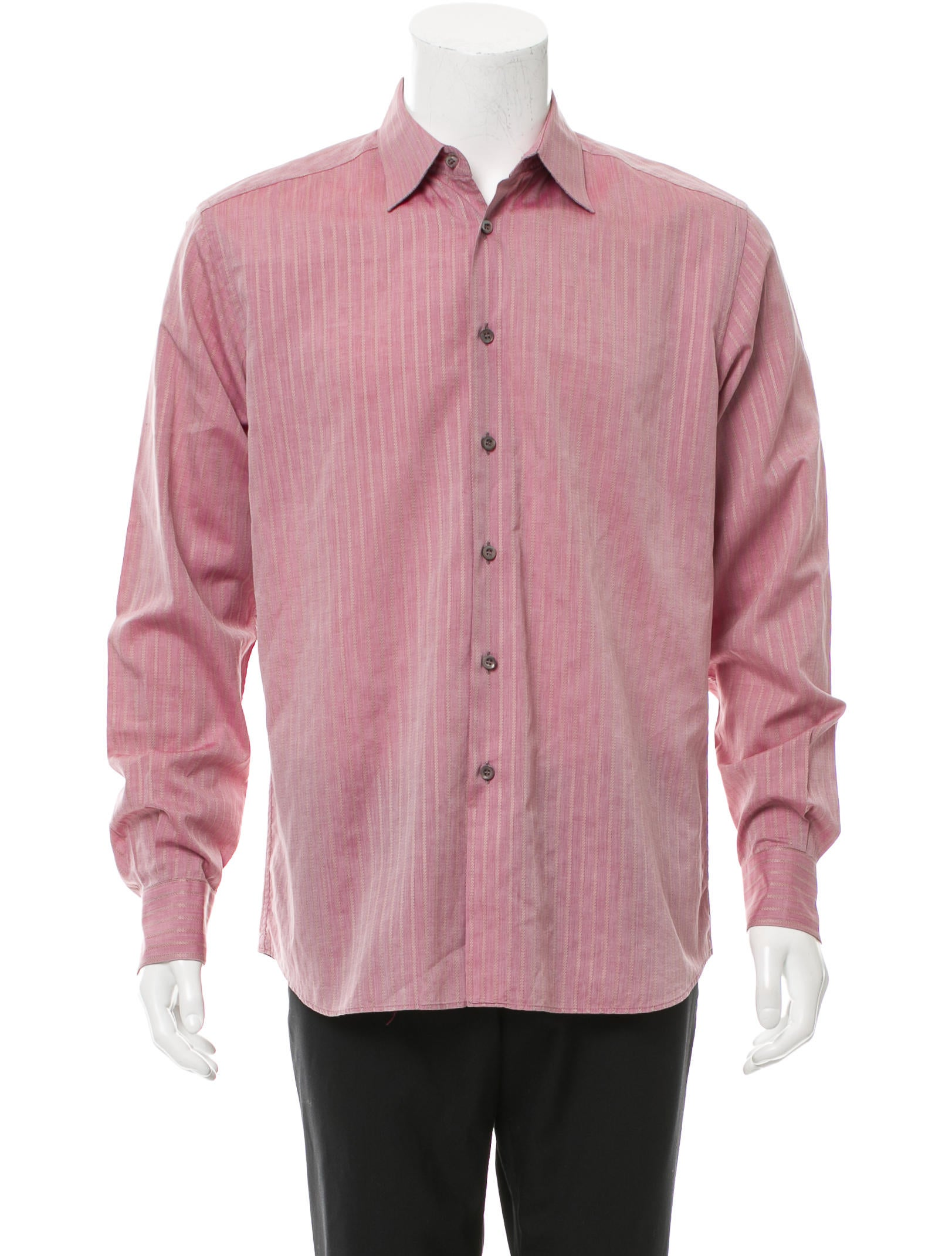 Prada striped button up shirt clothing pra131644 the for Striped button up shirt mens