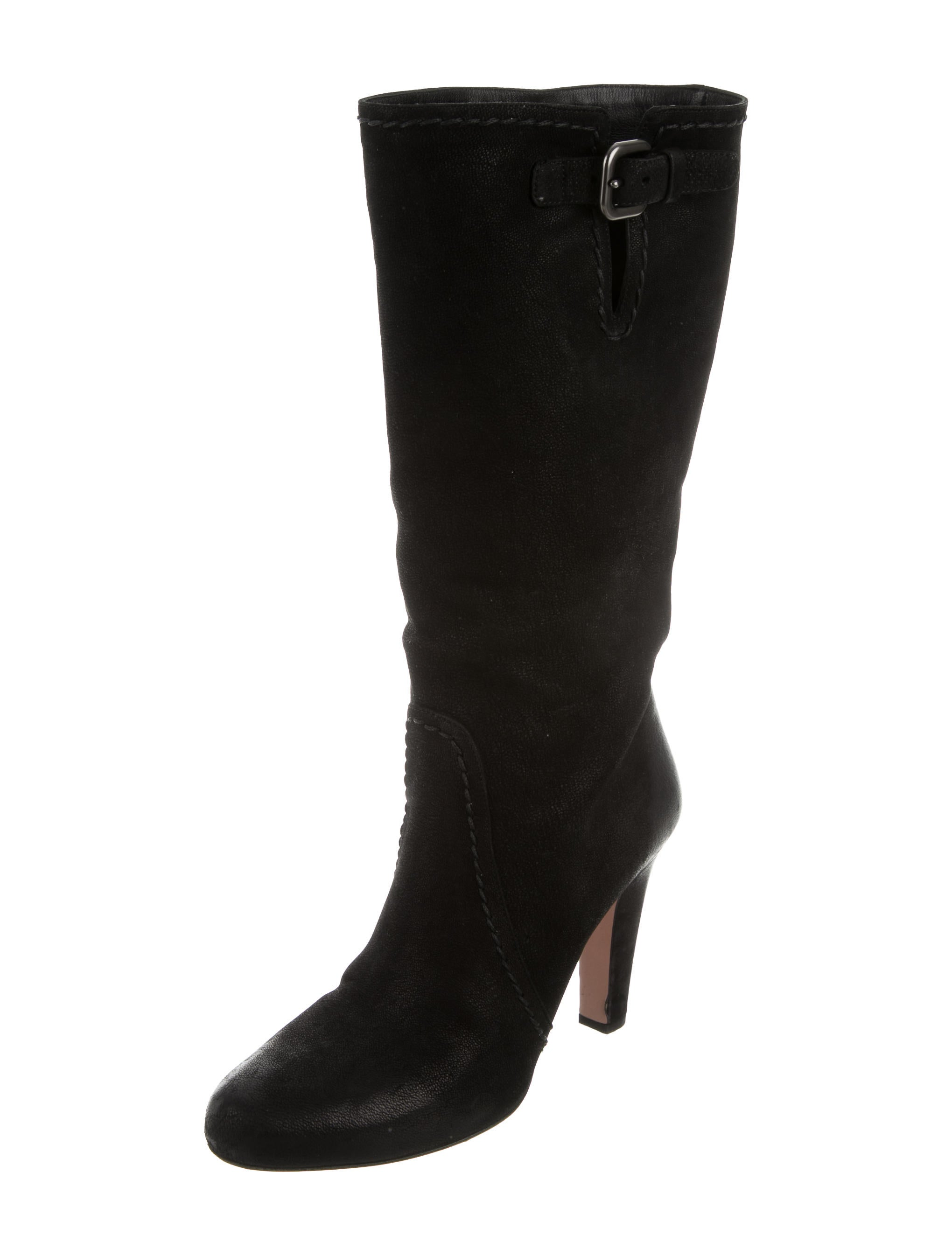 prada mid calf suede boots shoes pra131709 the realreal
