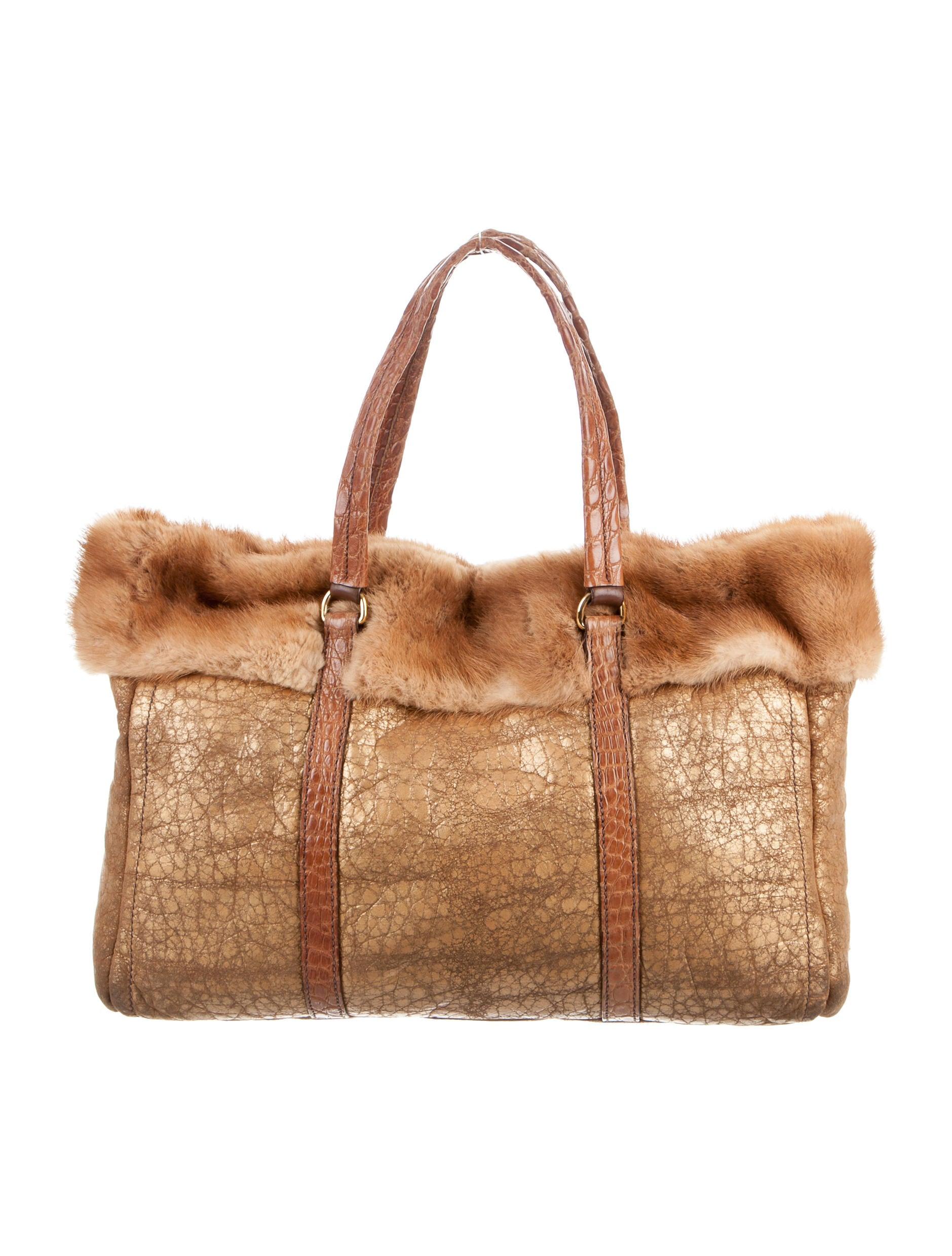 7eec2152639d Prada Mink-Trimmed Distressed Leather Tote - Handbags - PRA131724 ...