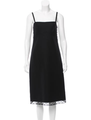 Prada Wool Lace-Trimmed Dress None