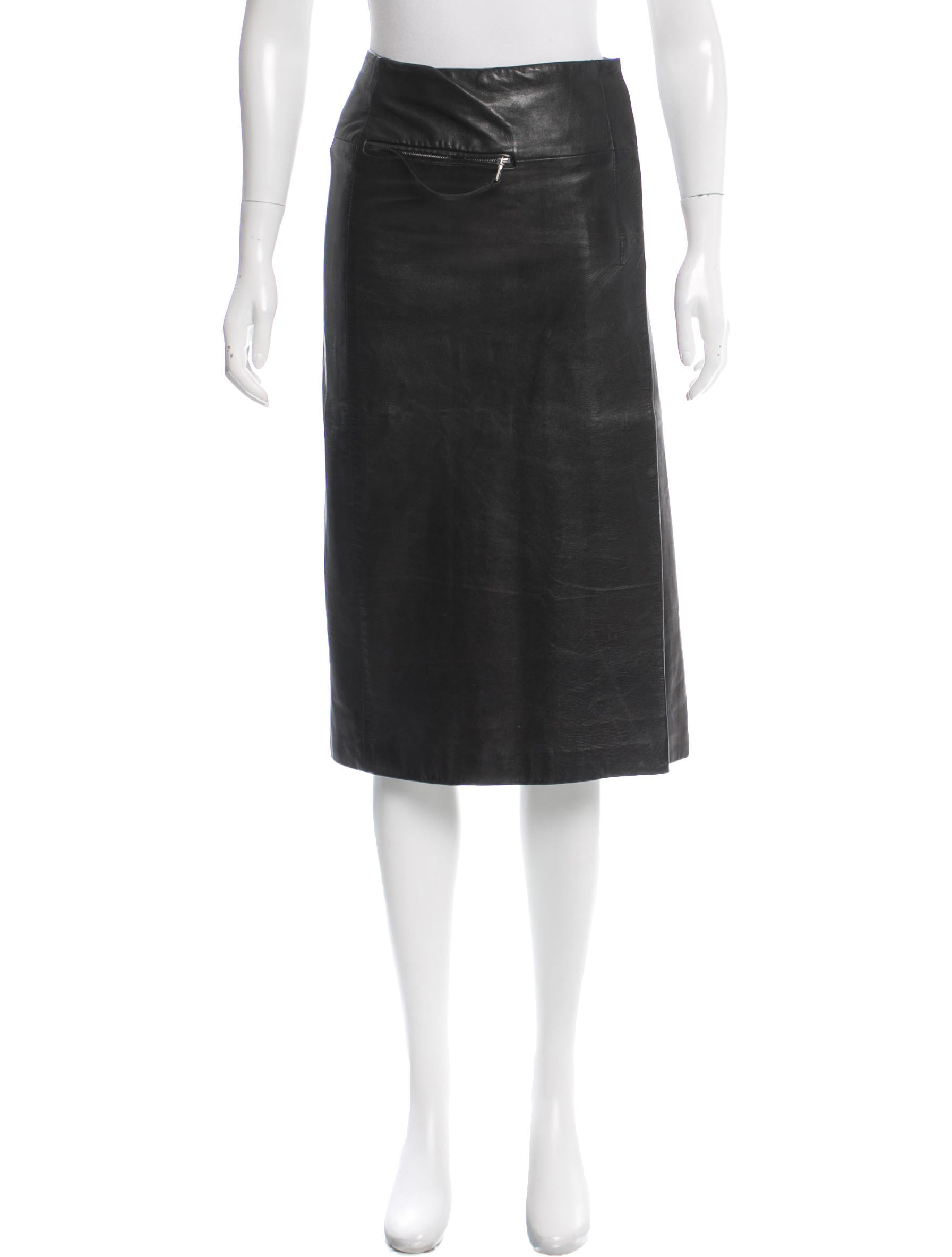 prada knee length leather skirt skirts pra132169 the