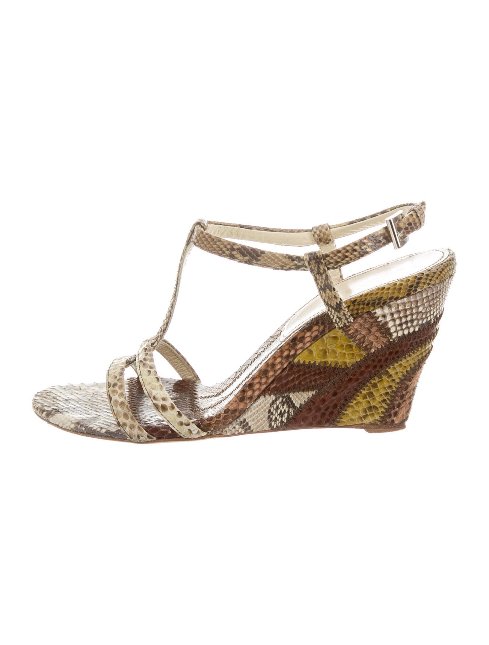 prada snakeskin wedge sandals shoes pra132630 the