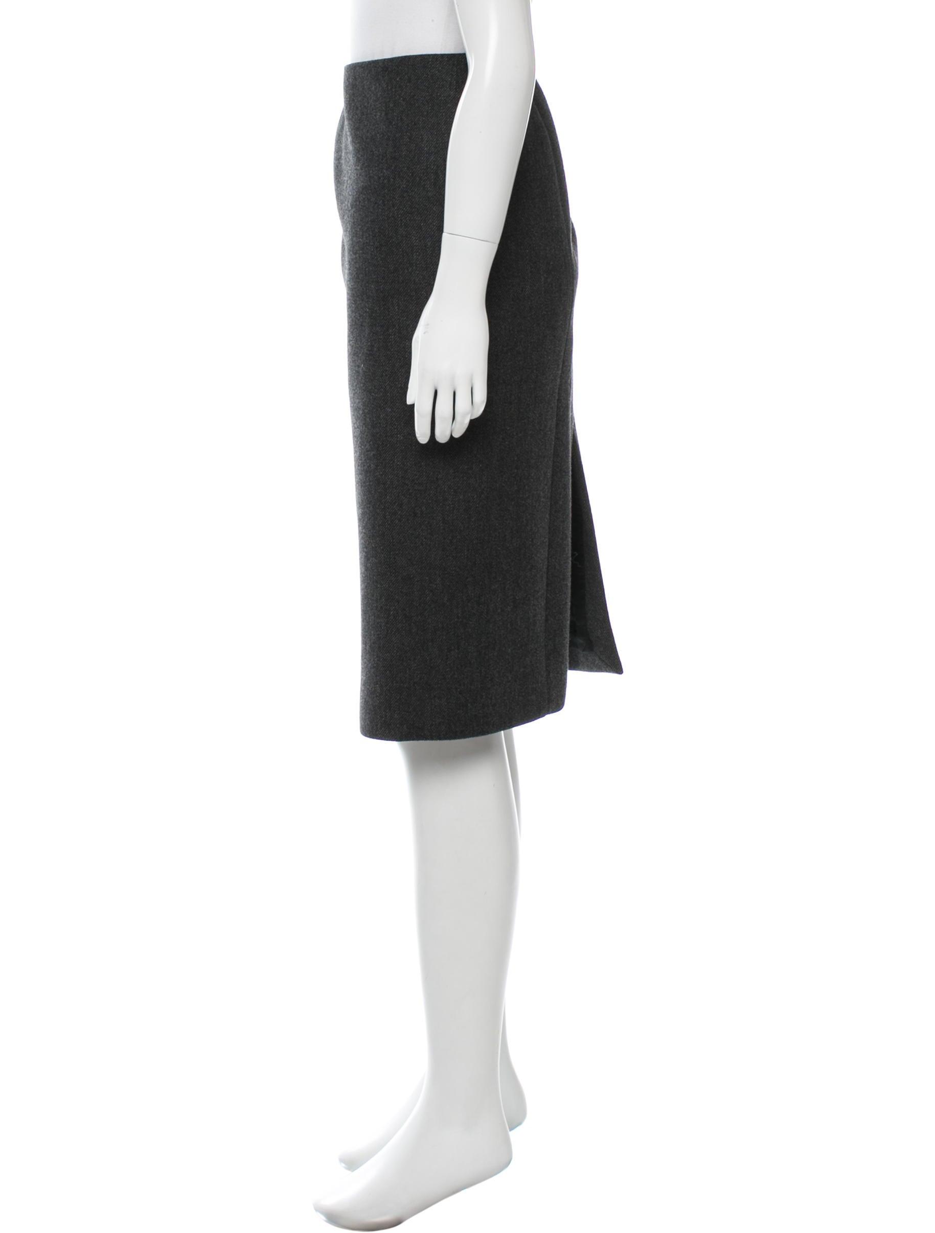 prada wool knee length skirt clothing pra132687 the
