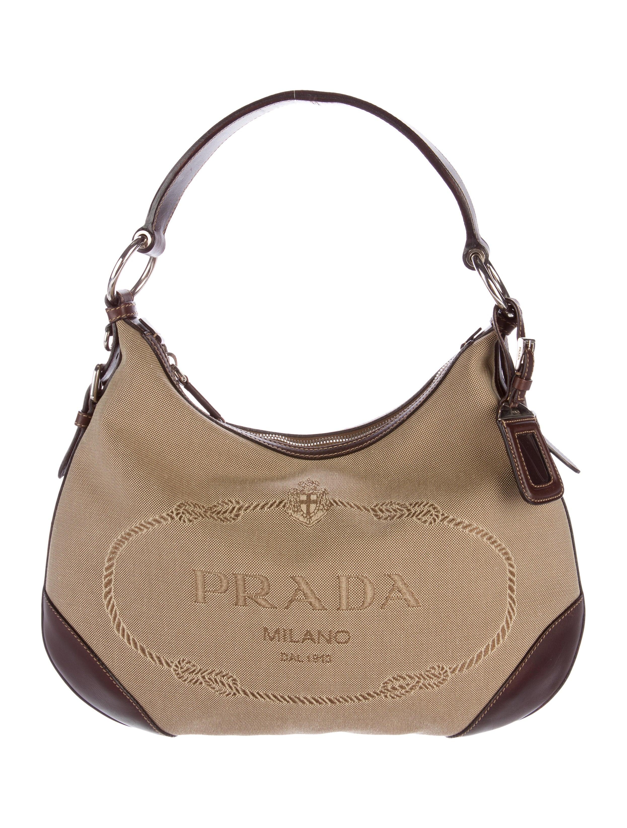 prada logo jacquard hobo handbags pra132756 the realreal