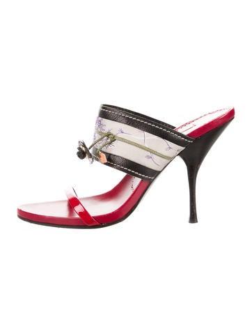 Leather & Satin Slide Sandals