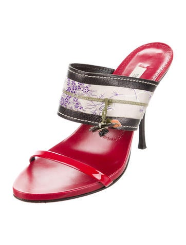 Leather & Satin Slide Sandals