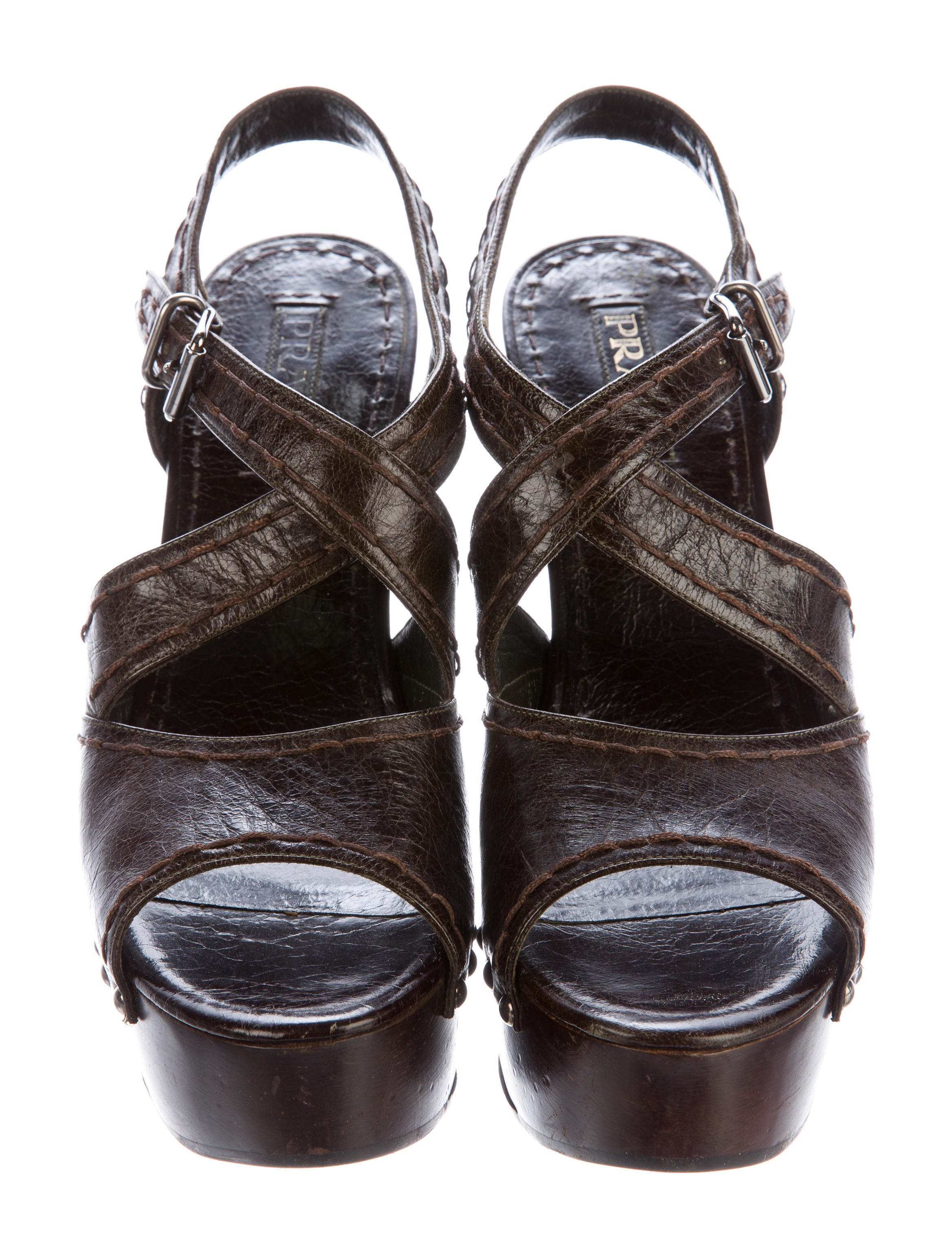 Prada Leather Platform Sandals - Shoes - PRA133050 | The