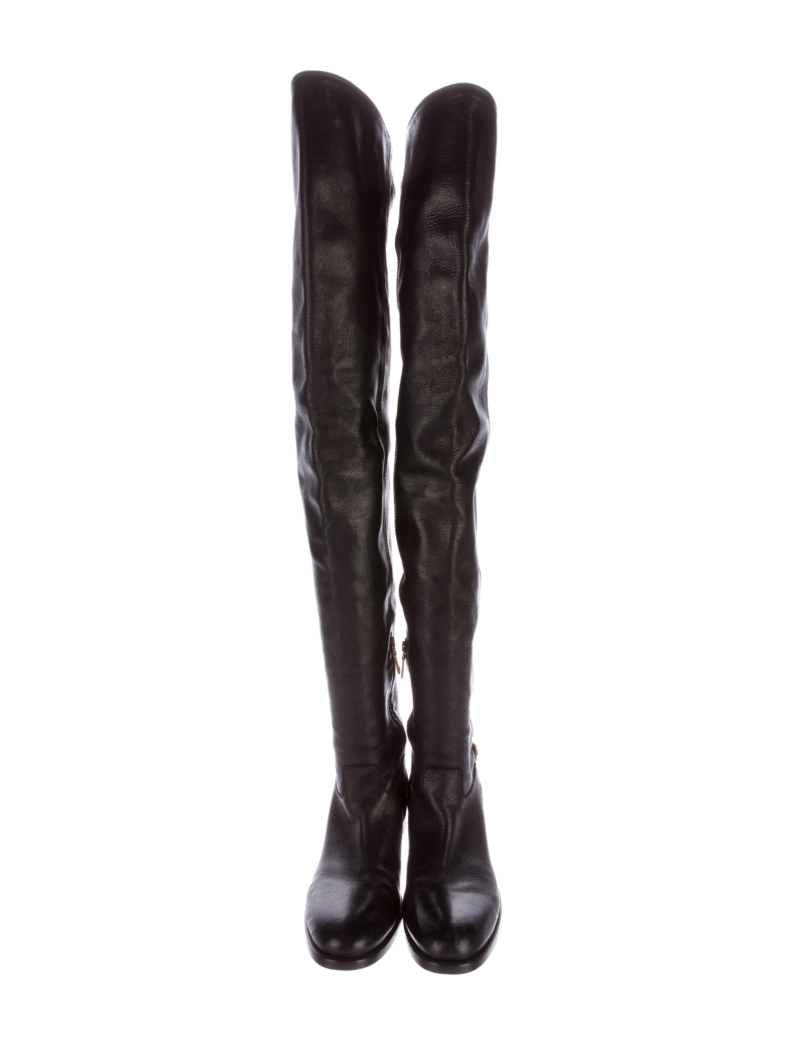 prada leather thigh high boots shoes pra133353 the