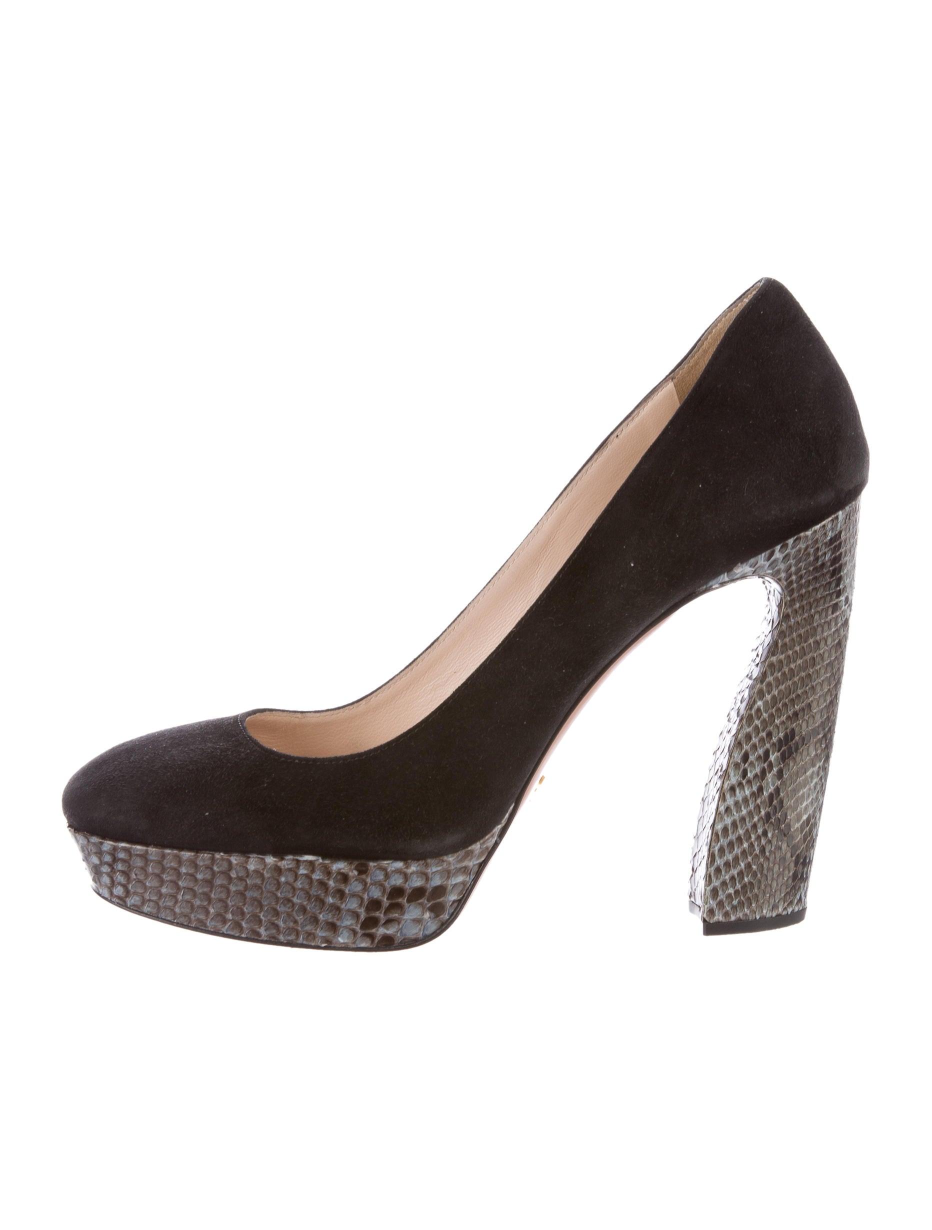 prada suede platform pumps shoes pra133456 the realreal