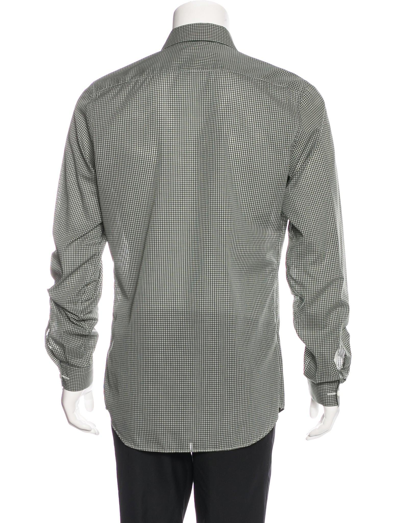 Prada gingham dress shirt clothing pra133464 the for Gingham dress shirt men