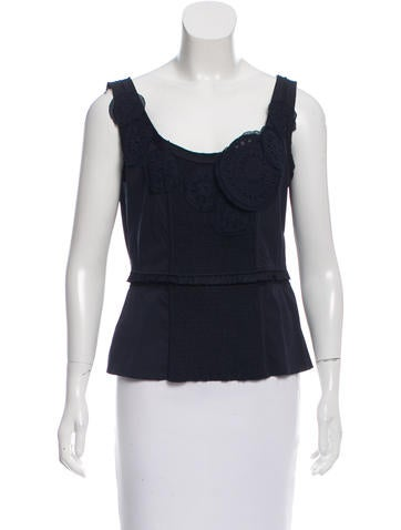 Prada Eyelet-Accented Ruffle-Trimmed Top None
