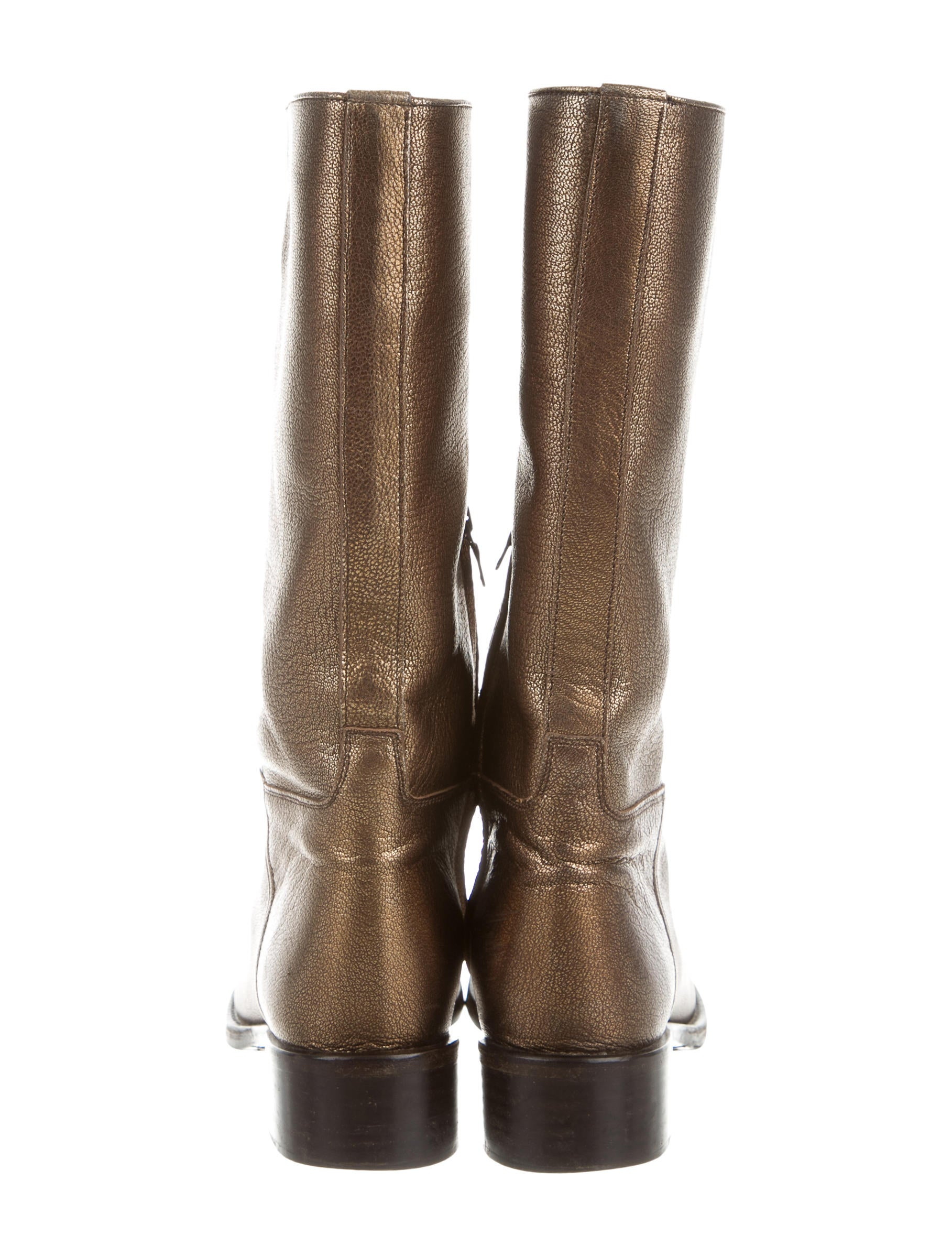 Metallic Leather Boots : Prada metallic leather boots shoes pra the