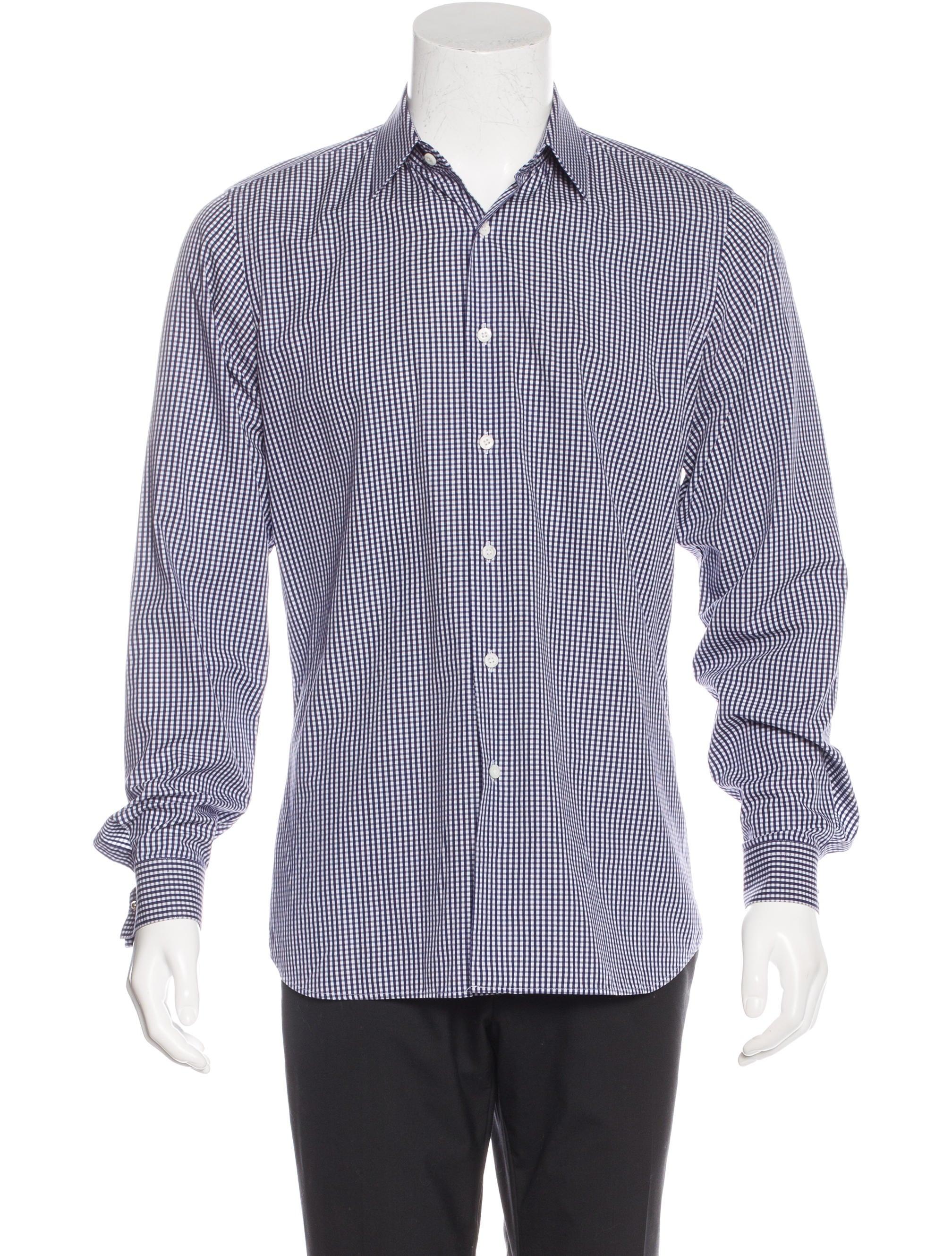 Prada gingham dress shirt clothing pra133591 the for Gingham dress shirt men